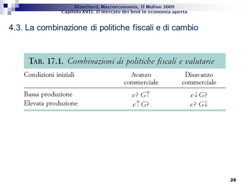 Blanchard, Macroeconomia, Il Mulino 2009 Capitolo XVII. Il mercato dei beni in economia aperta 28 4.3. La combinazione di politiche fiscali e di cambi