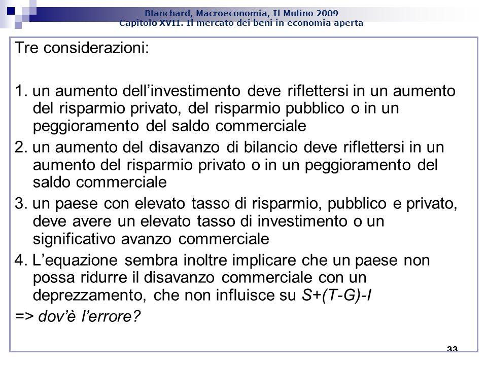 Blanchard, Macroeconomia, Il Mulino 2009 Capitolo XVII. Il mercato dei beni in economia aperta 33 Tre considerazioni: 1. un aumento dellinvestimento d