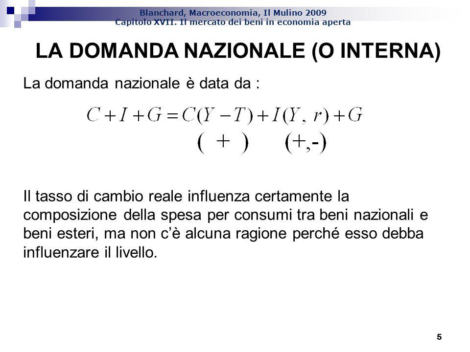 Blanchard, Macroeconomia, Il Mulino 2009 Capitolo XVII. Il mercato dei beni in economia aperta 5 LA DOMANDA NAZIONALE (O INTERNA) La domanda nazionale