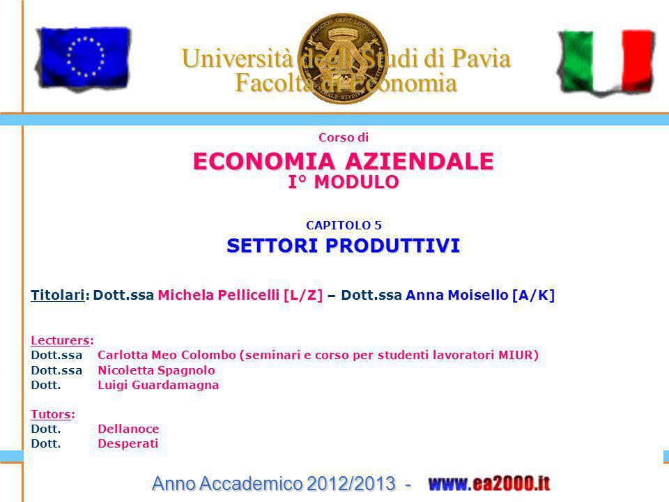 Università degli Studi di Pavia Facoltà di Economia Corso di ECONOMIA AZIENDALE I° MODULO CAPITOLO 5 SETTORI PRODUTTIVI Titolari: Dott.ssa Michela Pel