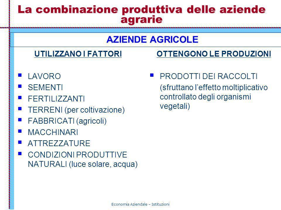 Economia Aziendale – Istituzioni La combinazione produttiva delle aziende agrarie UTILIZZANO I FATTORI LAVORO SEMENTI FERTILIZZANTI TERRENI (per colti