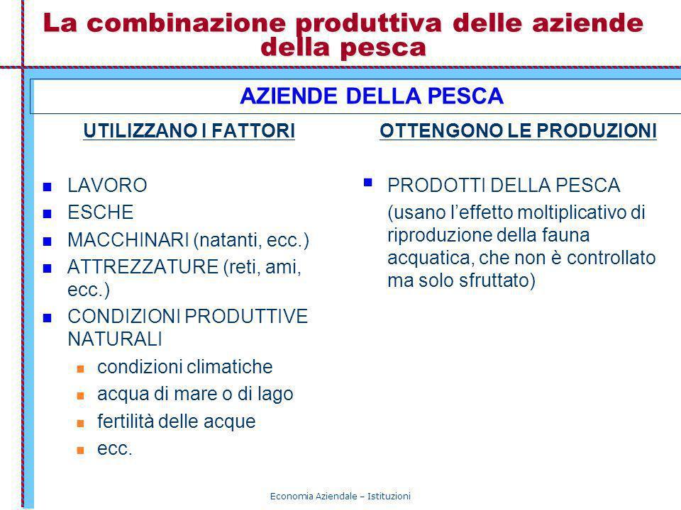 Economia Aziendale – Istituzioni La combinazione produttiva delle aziende della pesca UTILIZZANO I FATTORI LAVORO ESCHE MACCHINARI (natanti, ecc.) ATT