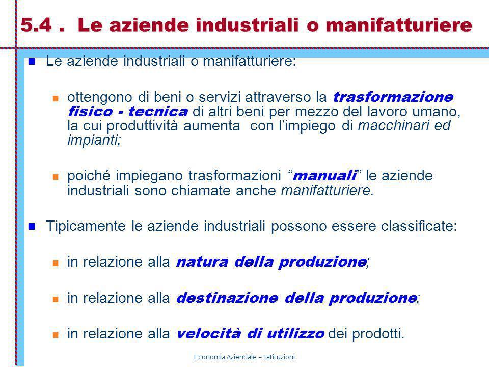 Economia Aziendale – Istituzioni 5.4. Le aziende industriali o manifatturiere Le aziende industriali o manifatturiere: ottengono di beni o servizi att