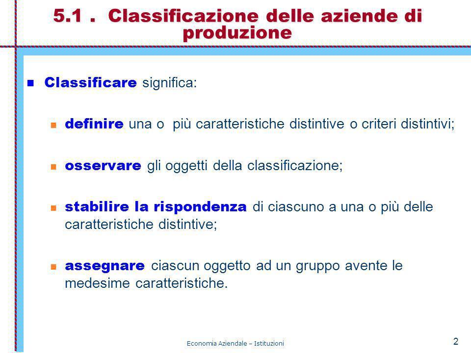 Economia Aziendale – Istituzioni 2 5.1. Classificazione delle aziende di produzione Classificare significa: definire una o più caratteristiche distint