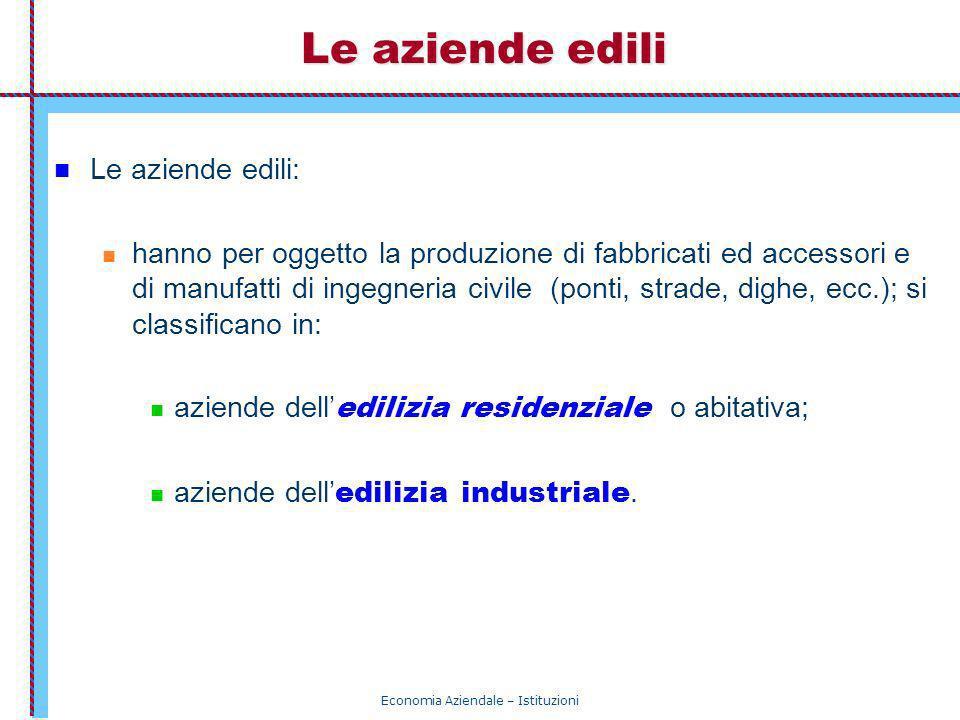 Economia Aziendale – Istituzioni Le aziende edili Le aziende edili: hanno per oggetto la produzione di fabbricati ed accessori e di manufatti di ingeg