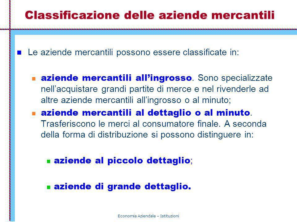 Economia Aziendale – Istituzioni Classificazione delle aziende mercantili Le aziende mercantili possono essere classificate in: aziende mercantili all