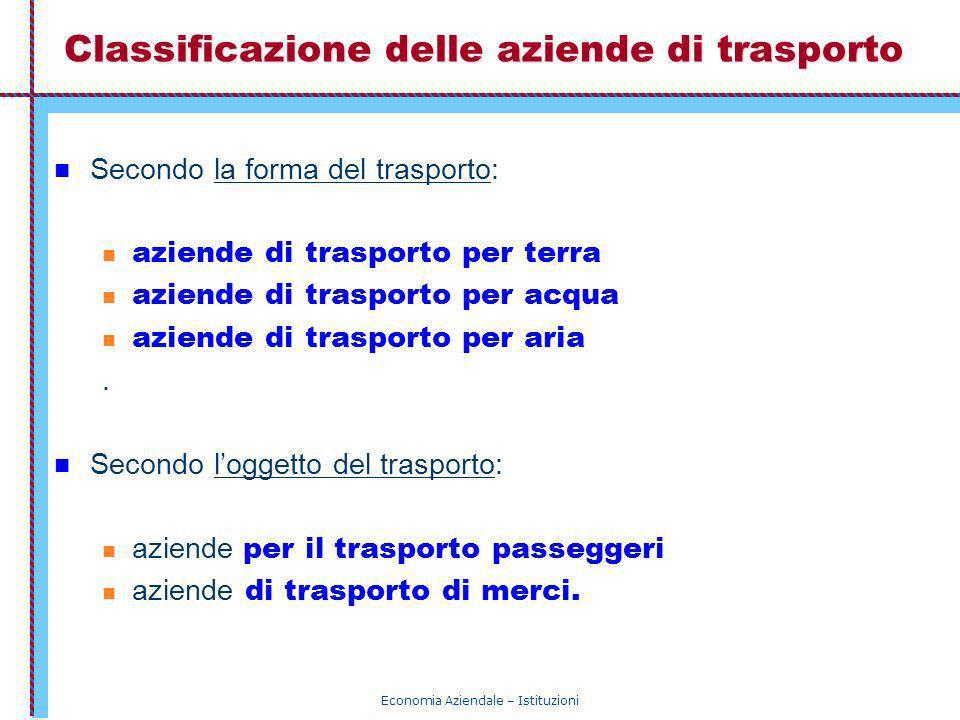 Economia Aziendale – Istituzioni Classificazione delle aziende di trasporto Secondo la forma del trasporto: aziende di trasporto per terra aziende di