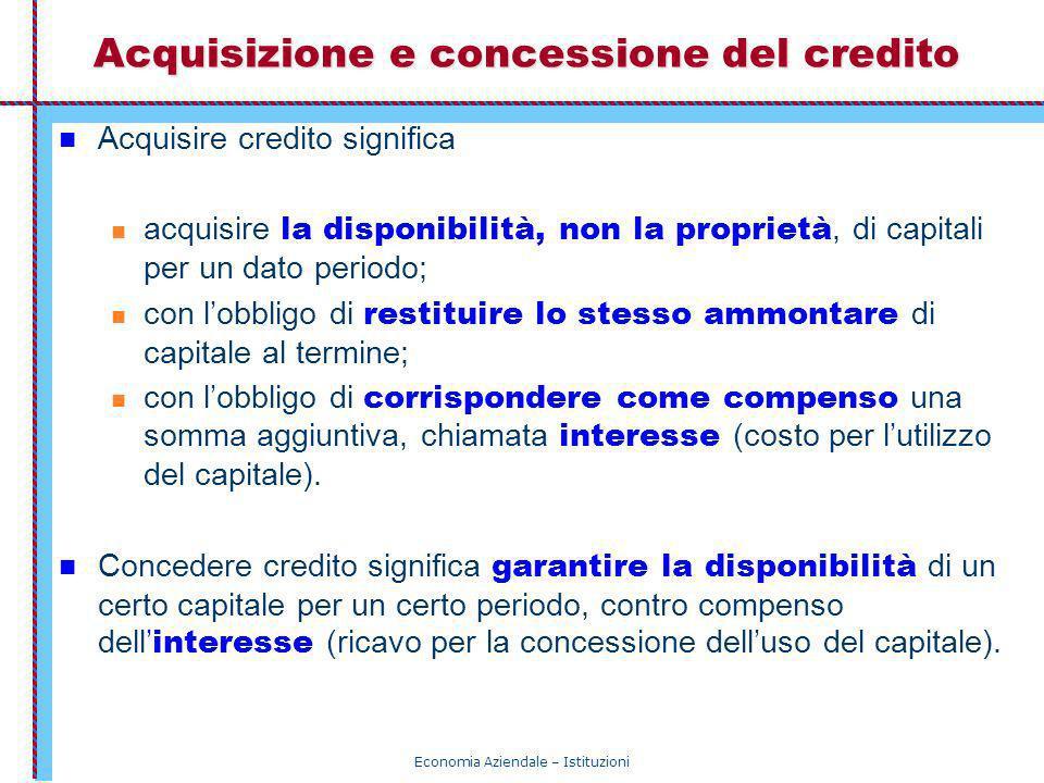 Economia Aziendale – Istituzioni Acquisizione e concessione del credito Acquisire credito significa acquisire la disponibilità, non la proprietà, di c