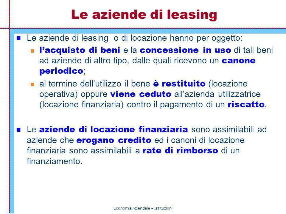 Economia Aziendale – Istituzioni Le aziende di leasing Le aziende di leasing o di locazione hanno per oggetto: lacquisto di beni e la concessione in u