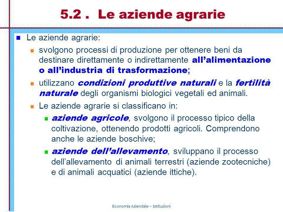 Economia Aziendale – Istituzioni 5.2. Le aziende agrarie Le aziende agrarie: svolgono processi di produzione per ottenere beni da destinare direttamen