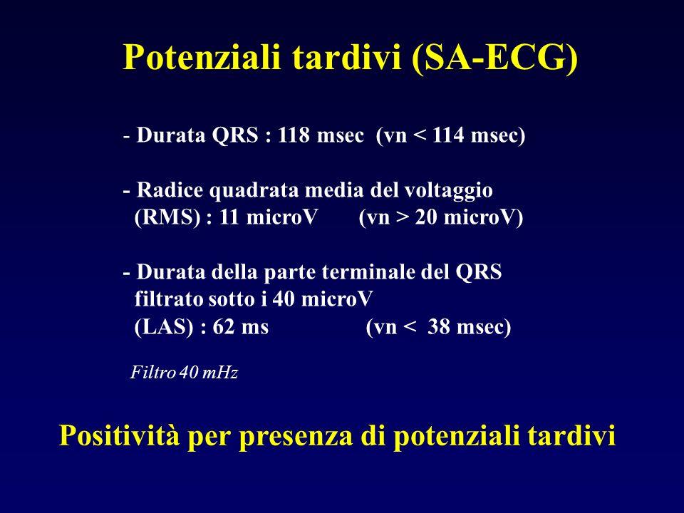 Potenziali tardivi (SA-ECG) - Durata QRS : 118 msec (vn < 114 msec) - Radice quadrata media del voltaggio (RMS) : 11 microV (vn > 20 microV) - Durata