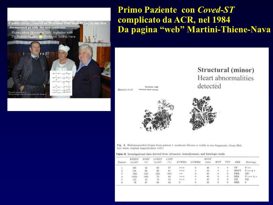 Primo Paziente con Coved-ST complicato da ACR, nel 1984 Da pagina web Martini-Thiene-Nava