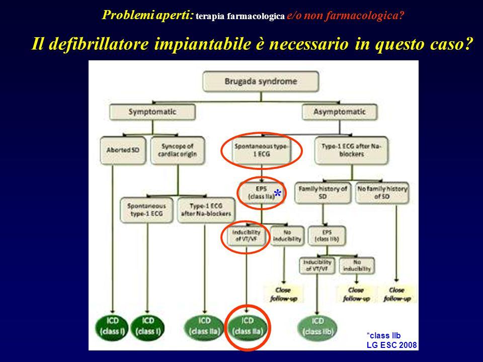 Il defibrillatore impiantabile è necessario in questo caso? Problemi aperti: terapia farmacologica e/o non farmacologica? * *class IIb LG ESC 2008