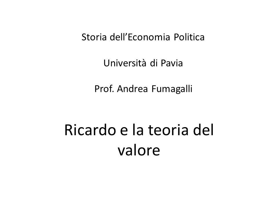 LA TEORIA DEL VALORE-LAVORO II La lettura che Ricardo della teoria del valore lavoro di Smith è la seguente.