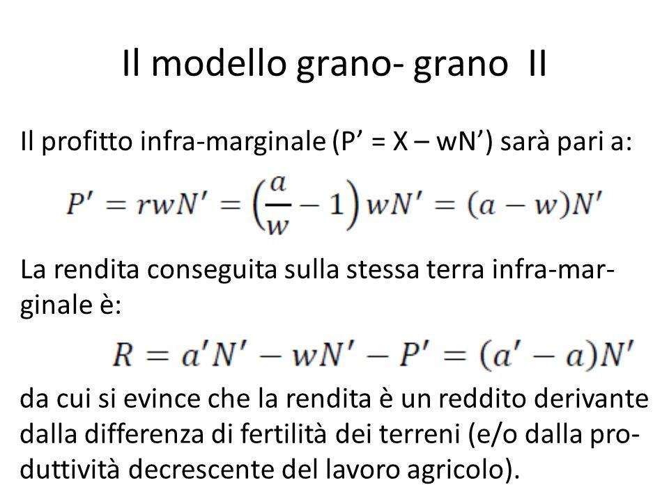 Il modello grano- grano II Il profitto infra-marginale (P = X – wN) sarà pari a: La rendita conseguita sulla stessa terra infra-mar- ginale è: da cui si evince che la rendita è un reddito derivante dalla differenza di fertilità dei terreni (e/o dalla pro- duttività decrescente del lavoro agricolo).