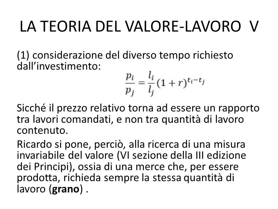 LA TEORIA DEL VALORE-LAVORO V (1) considerazione del diverso tempo richiesto dallinvestimento: Sicché il prezzo relativo torna ad essere un rapporto tra lavori comandati, e non tra quantità di lavoro contenuto.