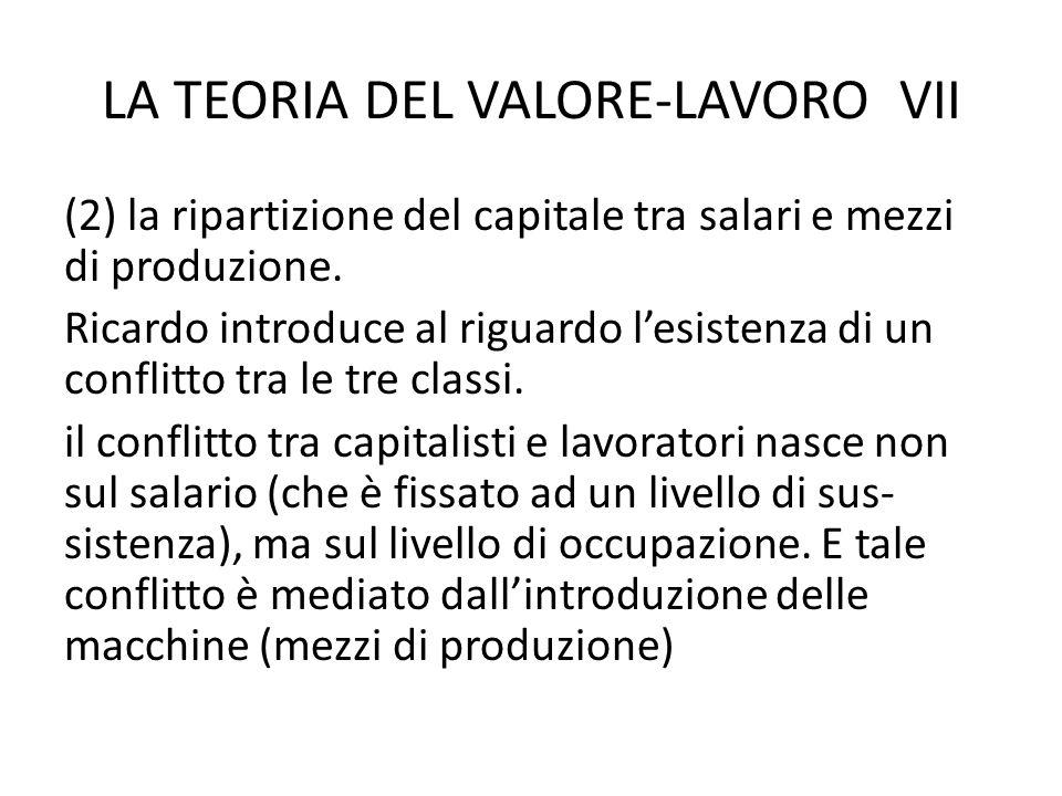 LA TEORIA DEL VALORE-LAVORO VII (2) la ripartizione del capitale tra salari e mezzi di produzione.