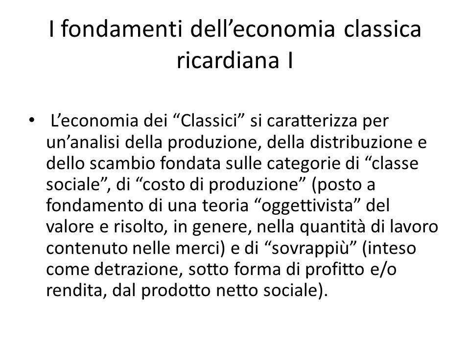 I fondamenti delleconomia classica ricardiana II Per Ricardo leconomia è la scienza che si occupa della distribuzione del prodotto tra salari, profitti e rendite.