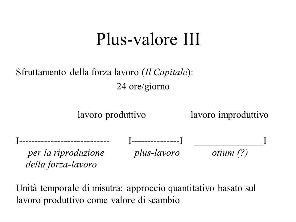 Plus-valore III Sfruttamento della forza lavoro (Il Capitale): 24 ore/giorno lavoro produttivo lavoro improduttivo I---------------------------- I----