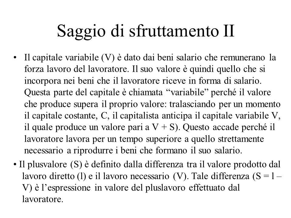 Saggio di sfruttamento II Il capitale variabile (V) è dato dai beni salario che remunerano la forza lavoro del lavoratore. Il suo valore è quindi quel