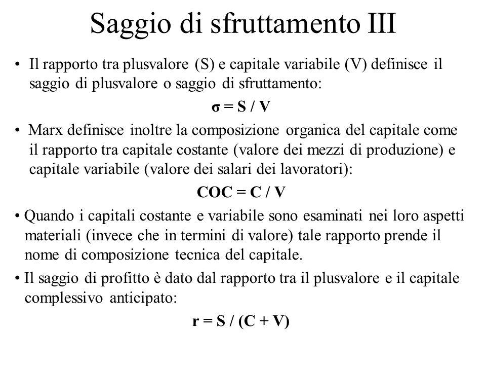 Saggio di sfruttamento III Il rapporto tra plusvalore (S) e capitale variabile (V) definisce il saggio di plusvalore o saggio di sfruttamento: σ = S /