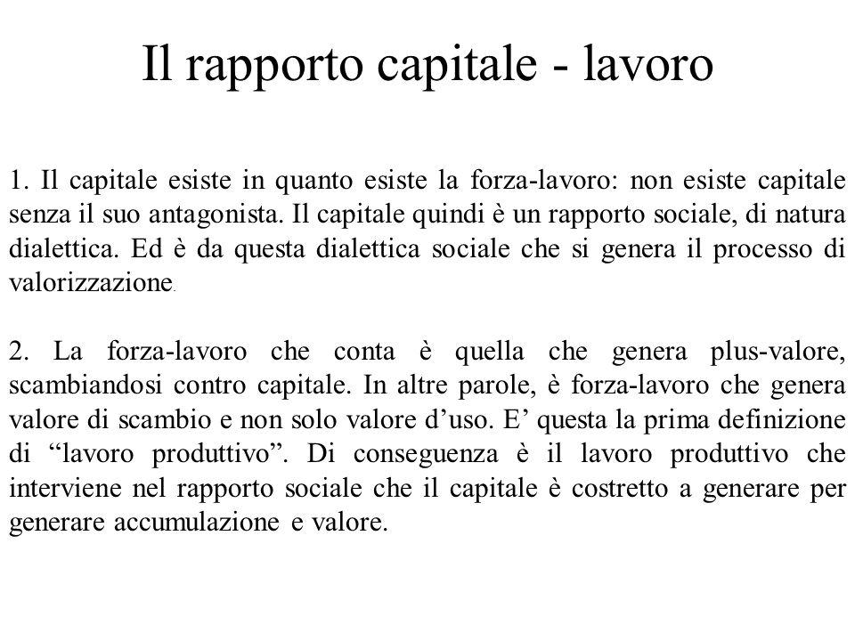 Il rapporto capitale - lavoro 1. Il capitale esiste in quanto esiste la forza-lavoro: non esiste capitale senza il suo antagonista. Il capitale quindi