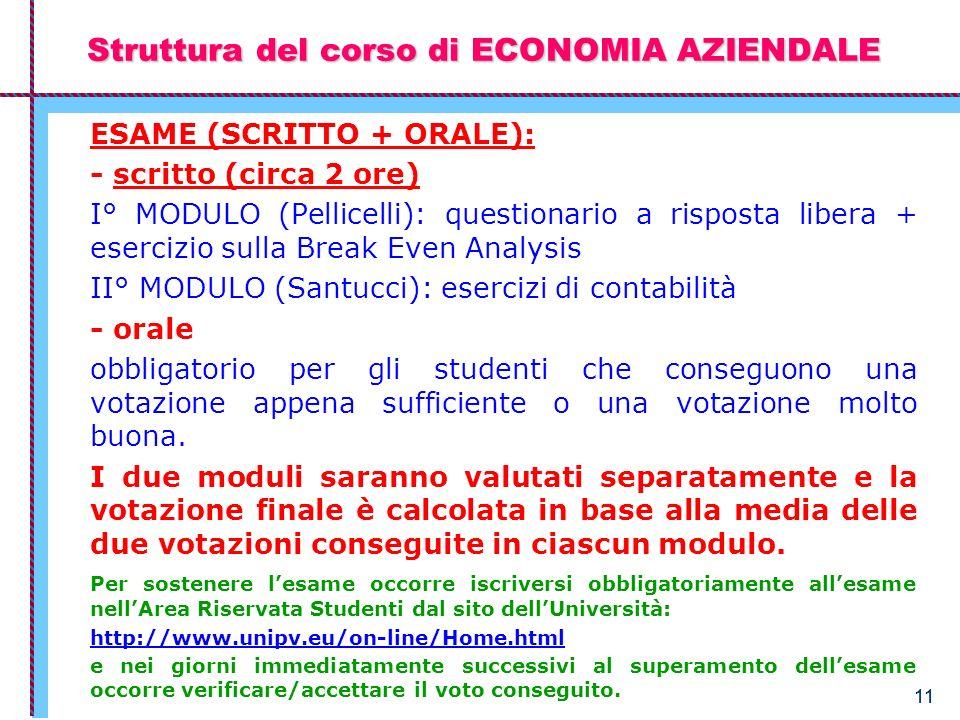 11 Struttura del corso di ECONOMIA AZIENDALE ESAME (SCRITTO + ORALE): - scritto (circa 2 ore) I° MODULO (Pellicelli): questionario a risposta libera +
