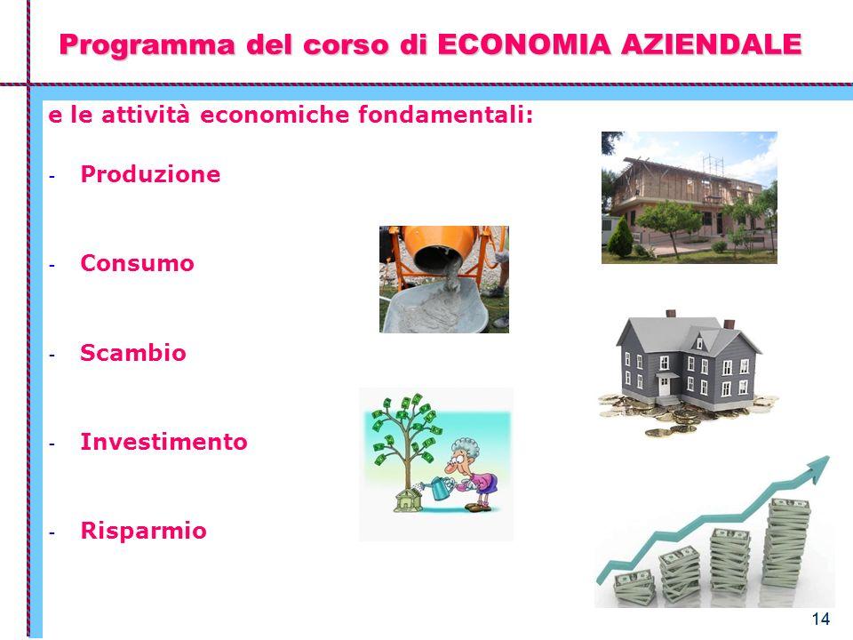 14 Programma del corso di ECONOMIA AZIENDALE e le attività economiche fondamentali: - Produzione - Consumo - Scambio - Investimento - Risparmio