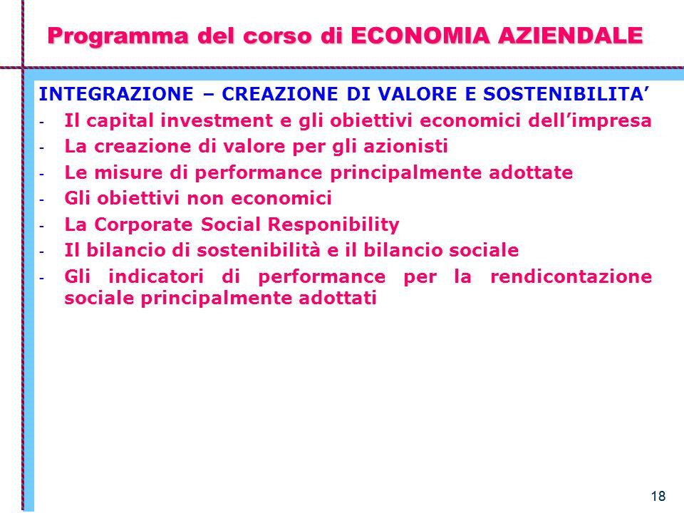 18 Programma del corso di ECONOMIA AZIENDALE INTEGRAZIONE – CREAZIONE DI VALORE E SOSTENIBILITA - Il capital investment e gli obiettivi economici dell