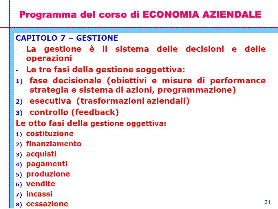 21 Programma del corso di ECONOMIA AZIENDALE CAPITOLO 7 – GESTIONE - La gestione è il sistema delle decisioni e delle operazioni - Le tre fasi della g