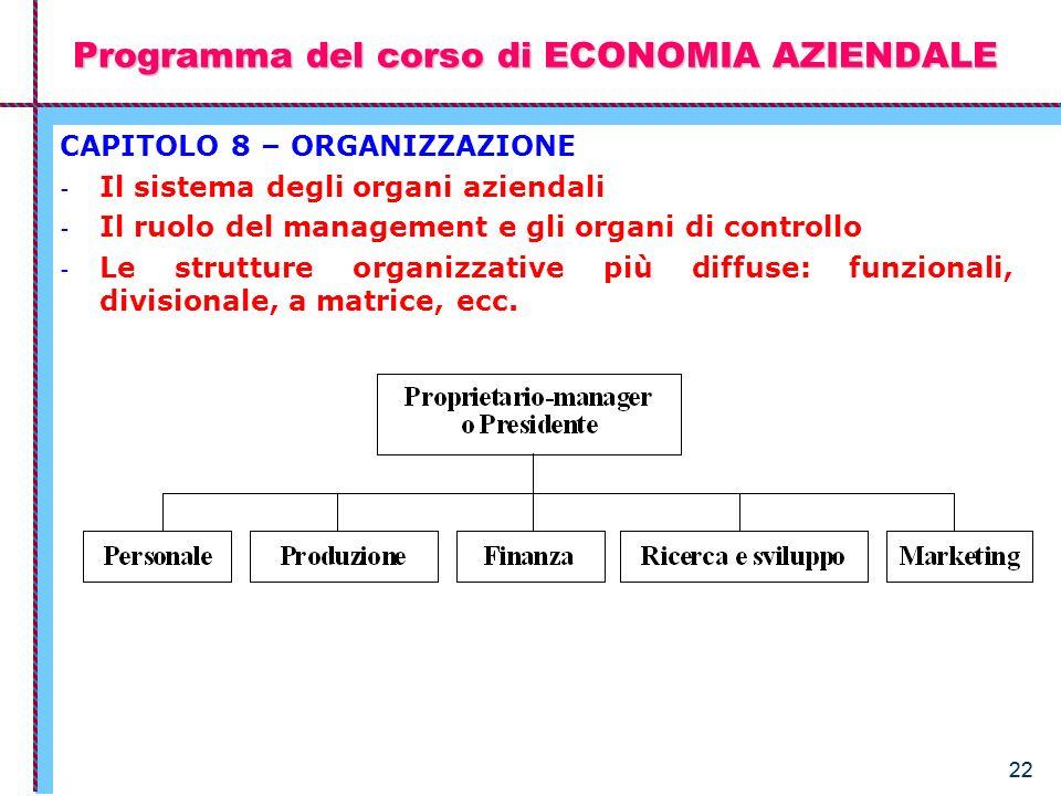 22 Programma del corso di ECONOMIA AZIENDALE CAPITOLO 8 – ORGANIZZAZIONE - Il sistema degli organi aziendali - Il ruolo del management e gli organi di
