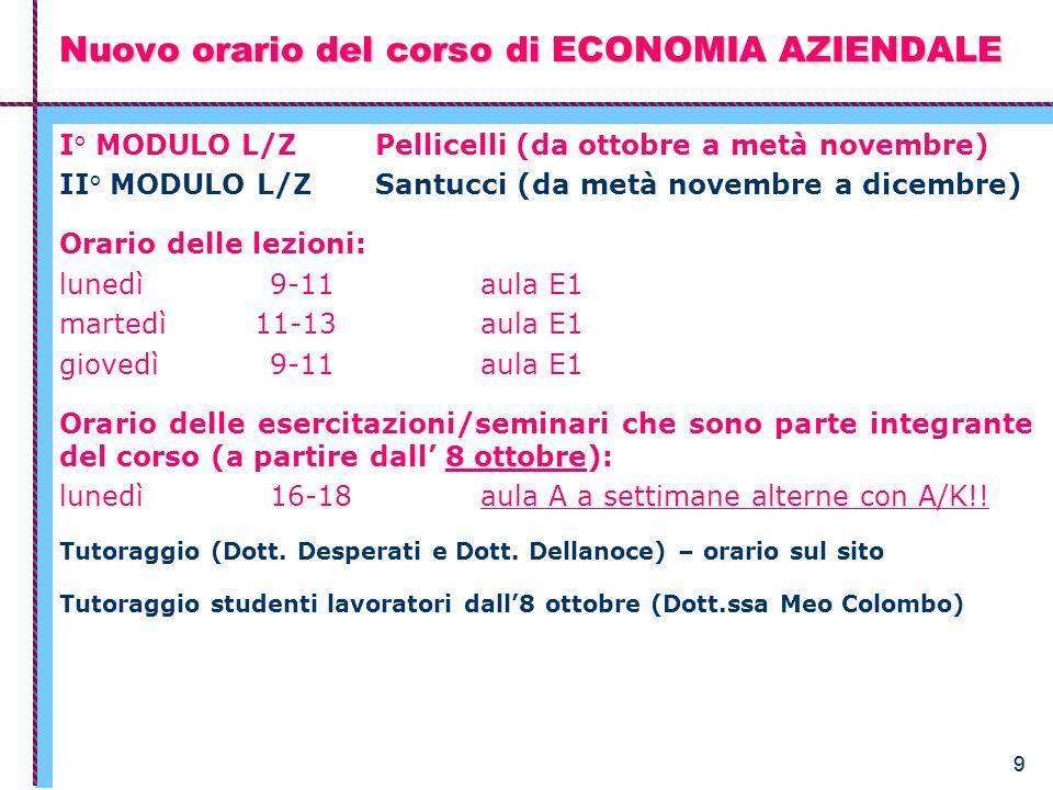 99 I° MODULO L/Z Pellicelli (da ottobre a metà novembre) II° MODULO L/Z Santucci (da metà novembre a dicembre) Orario delle lezioni: lunedì 9-11aula E