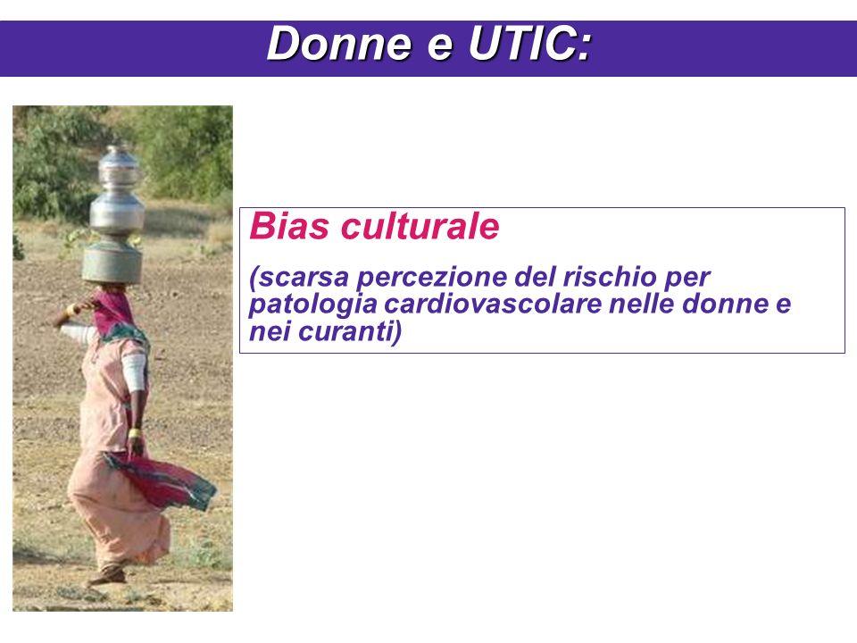Bias culturale (scarsa percezione del rischio per patologia cardiovascolare nelle donne e nei curanti) Donne e UTIC: