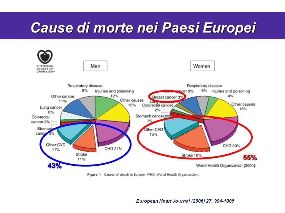 Cause di morte nei Paesi Europei European Heart Journal (2006) 27, 994-1005 43% 55%