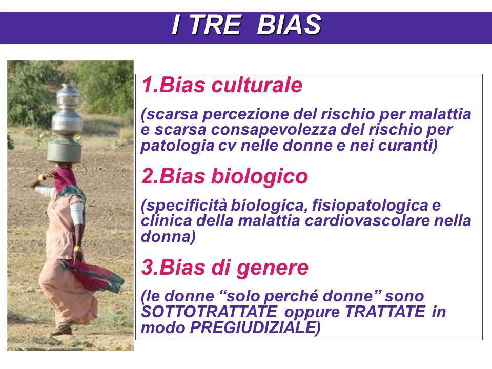 1.Bias culturale (scarsa percezione del rischio per malattia e scarsa consapevolezza del rischio per patologia cv nelle donne e nei curanti) 2.Bias biologico (specificità biologica, fisiopatologica e clinica della malattia cardiovascolare nella donna) 3.Bias di genere (le donne solo perché donne sono SOTTOTRATTATE oppure TRATTATE in modo PREGIUDIZIALE) I TRE BIAS