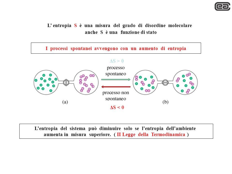 L entropia S è una misura del grado di disordine molecolare anche S è una funzione di stato ΔS > 0 ΔS < 0 I processi spontanei avvengono con un aument