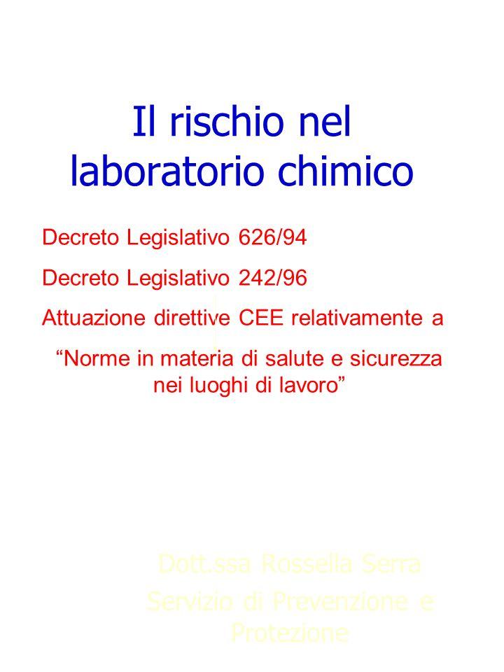 Il rischio nel laboratorio chimico Dott.ssa Rossella Serra Servizio di Prevenzione e Protezione Decreto Legislativo 626/94 Decreto Legislativo 242/96