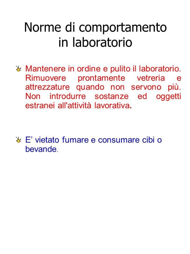 Norme di comportamento in laboratorio Mantenere in ordine e pulito il laboratorio. Rimuovere prontamente vetreria e attrezzature quando non servono pi