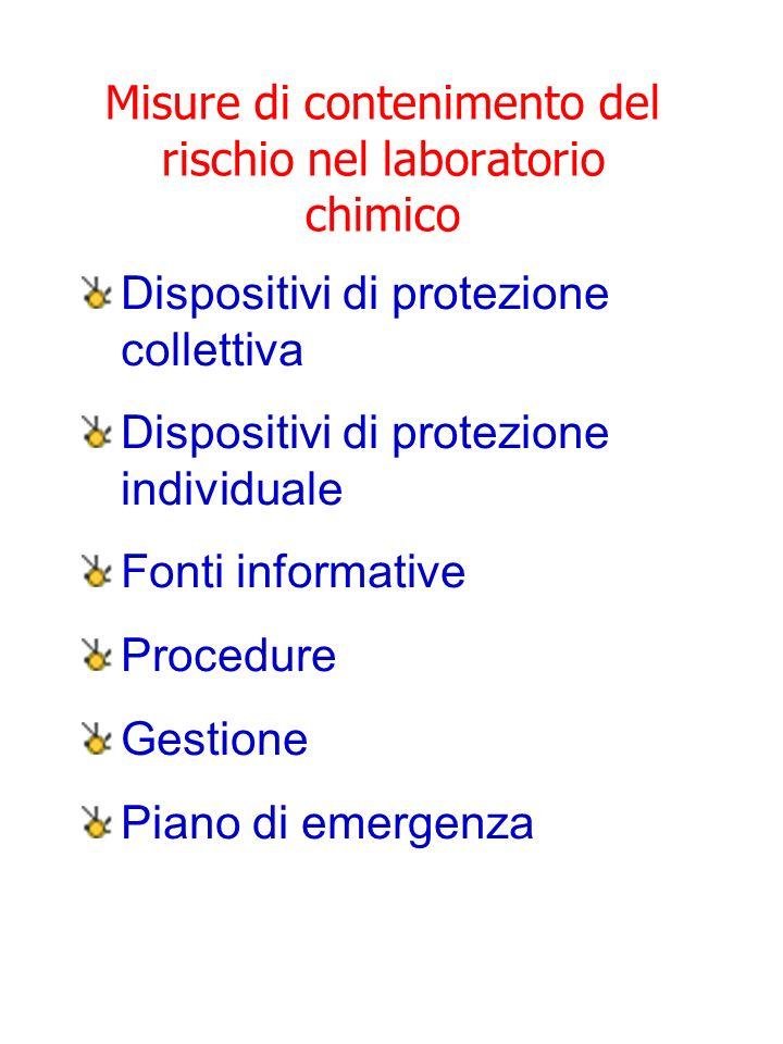 Misure di contenimento del rischio nel laboratorio chimico Dispositivi di protezione collettiva Dispositivi di protezione individuale Fonti informativ