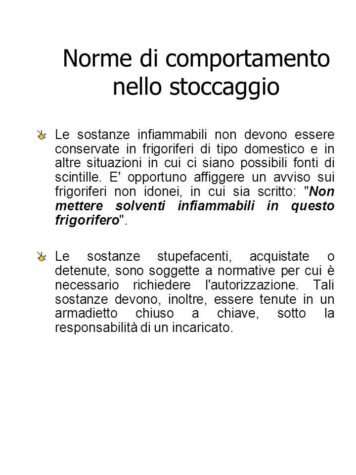 Norme di comportamento nello stoccaggio Le sostanze infiammabili non devono essere conservate in frigoriferi di tipo domestico e in altre situazioni i