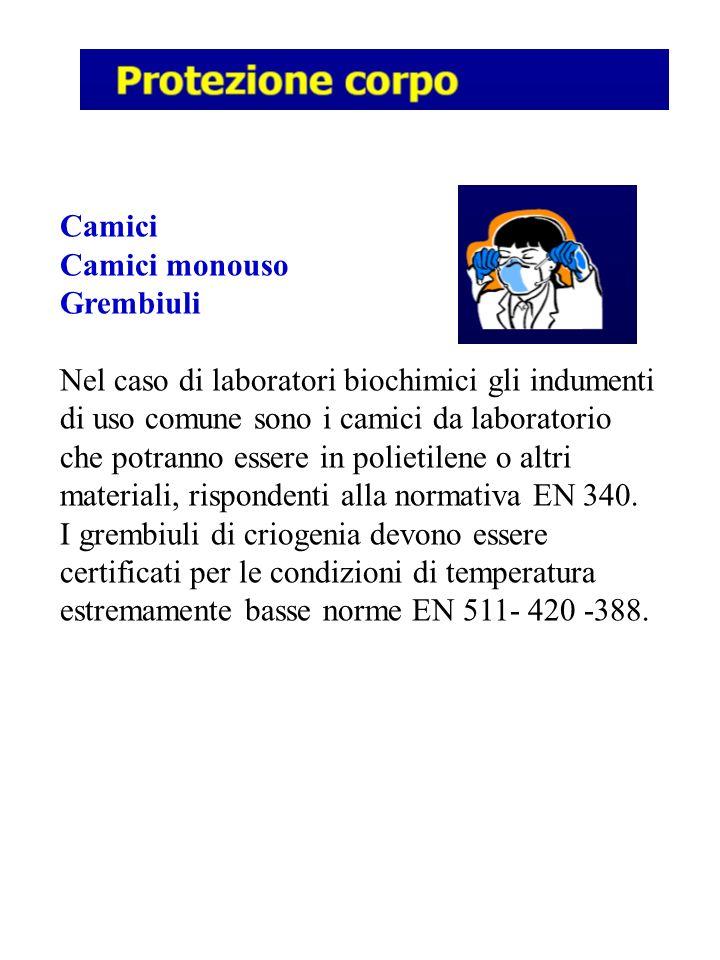 Camici Camici monouso Grembiuli Nel caso di laboratori biochimici gli indumenti di uso comune sono i camici da laboratorio che potranno essere in poli