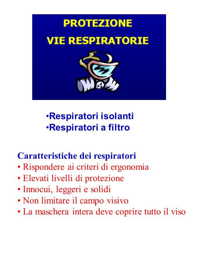 Respiratori isolanti Apparecchiature indipendenti dallaria dellambiente Vengono utilizzati in condizioni di elevato inquinamento e/o quando la percentuale di ossigeno nellaria ambiente è inferiore al 17%.