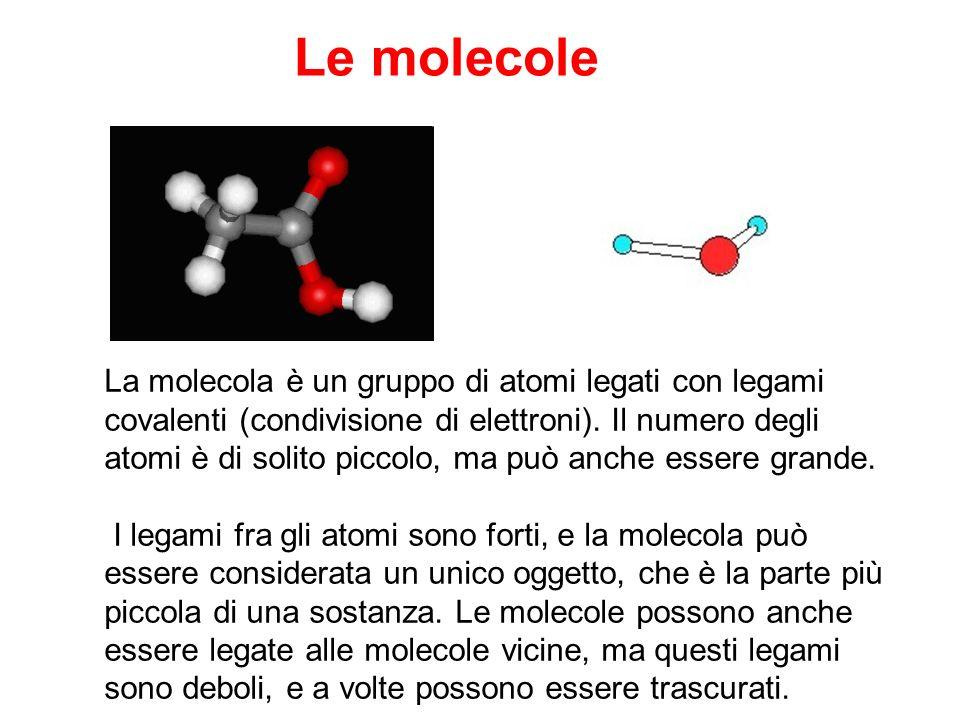 Le molecole La molecola è un gruppo di atomi legati con legami covalenti (condivisione di elettroni). Il numero degli atomi è di solito piccolo, ma pu
