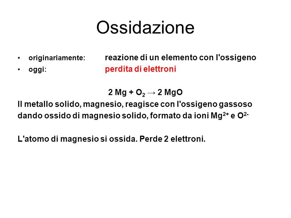 Ossidazione originariamente: reazione di un elemento con l'ossigeno oggi: perdita di elettroni 2 Mg + O 2 2 MgO Il metallo solido, magnesio, reagisce