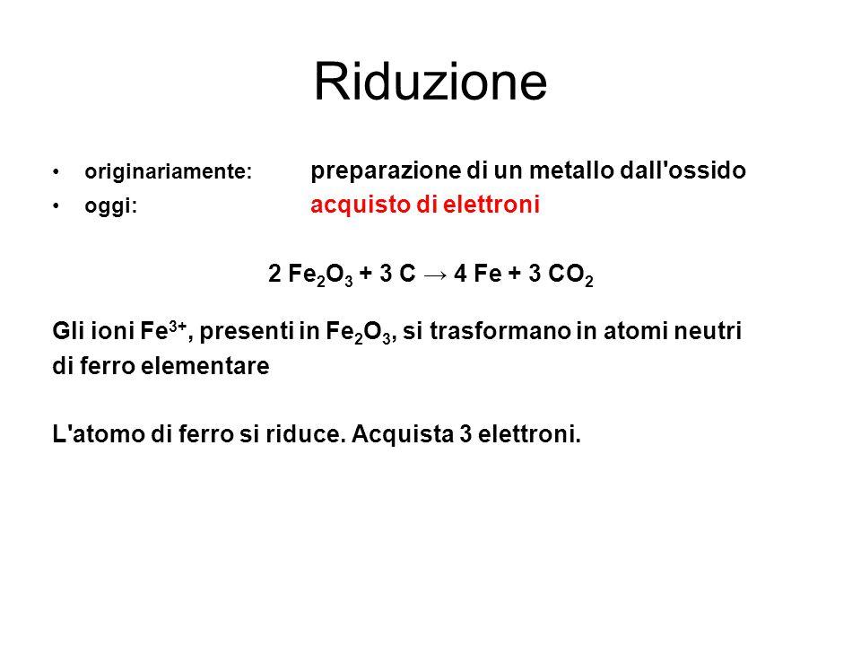 Riduzione originariamente: preparazione di un metallo dall'ossido oggi: acquisto di elettroni 2 Fe 2 O 3 + 3 C 4 Fe + 3 CO 2 Gli ioni Fe 3+, presenti