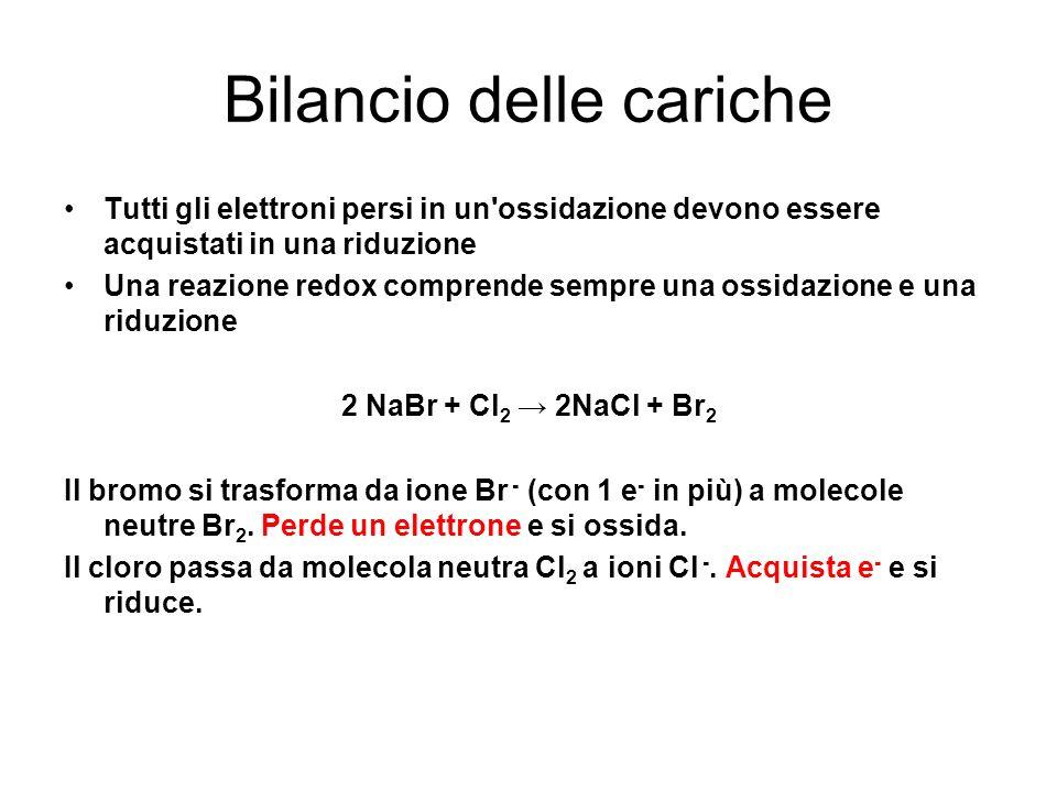 Bilanciamento delle reazioni Redox MnO 4 - + H + + Br - Mn 2 + + BrO 3 - + H 2 O Br - BrO 3 - + 6 e - bil elett Br - BrO 3 - + 6 e - + 6 H + bil cariche Br - + 3 H 2 O BrO 3 - + 6 e - + 6 H + bil masse Ossidazione (1) MnO 4 - + 5 e - Mn 2 + bil elett MnO 4 - + 5 e - + 8 H + Mn 2 + bil cariche MnO 4 - + 5 e - + 8 H + Mn 2 + + 4 H 2 O bil masse Riduzione (2) Si scompone la reazione in un due semi-reazioni : Il numero di elettroni persi nella semi-reazione di ossidazione deve eguagliare il numero di elettroni acquistati nella semi-reazione di riduzione moltiplicando leq (1) per 5 e leq (2) per 6.