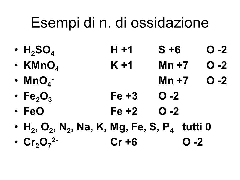 Esempi di n. di ossidazione H 2 SO 4 H +1S +6O -2 KMnO 4 K +1Mn +7O -2 MnO 4 - Mn +7O -2 Fe 2 O 3 Fe +3O -2 FeOFe +2O -2 H 2, O 2, N 2, Na, K, Mg, Fe,