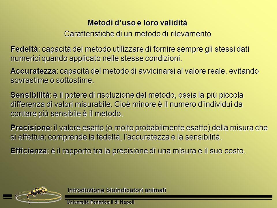 Università Federico II di Napoli Introduzione bioindicatori animali Metodi duso e loro validità Caratteristiche di un metodo di rilevamento Fedeltà: c