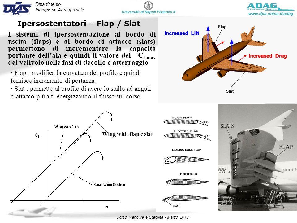 Dipartimento Ingegneria Aerospaziale Corso Manovre e Stabilità - Marzo 2010 Ipersostentatori – Flap / Slat I sistemi di ipersostentazione al bordo di