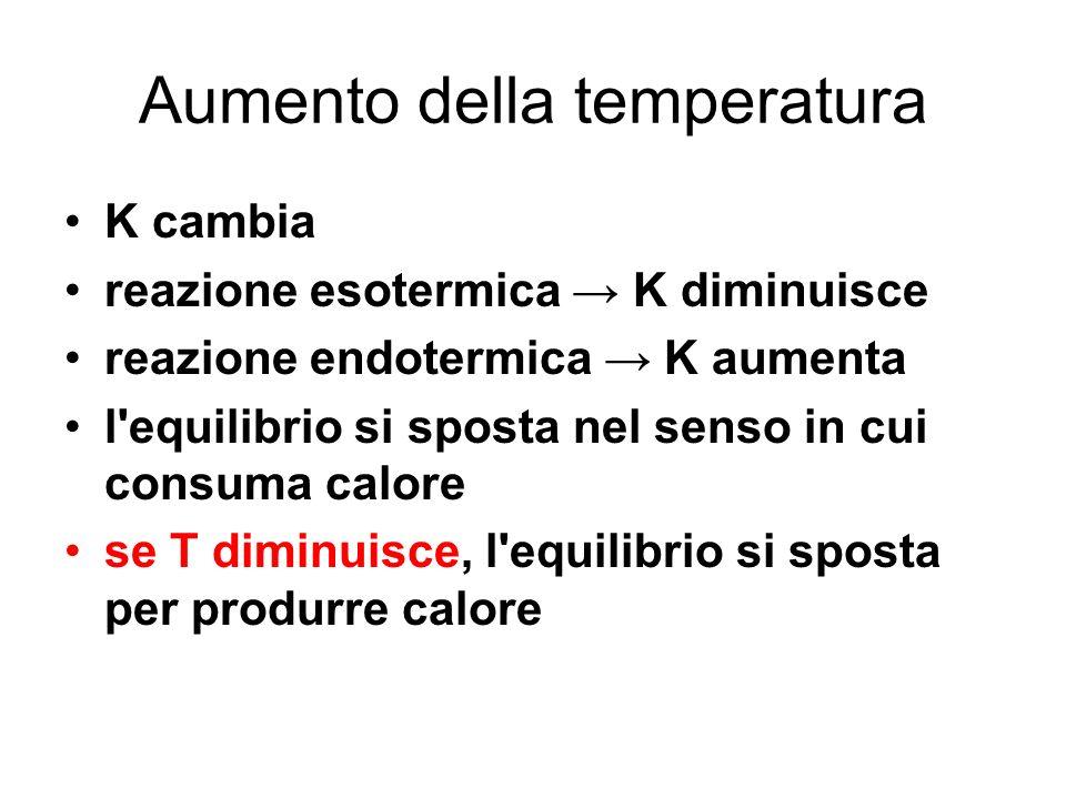 Aumento della temperatura K cambia reazione esotermica K diminuisce reazione endotermica K aumenta l'equilibrio si sposta nel senso in cui consuma cal